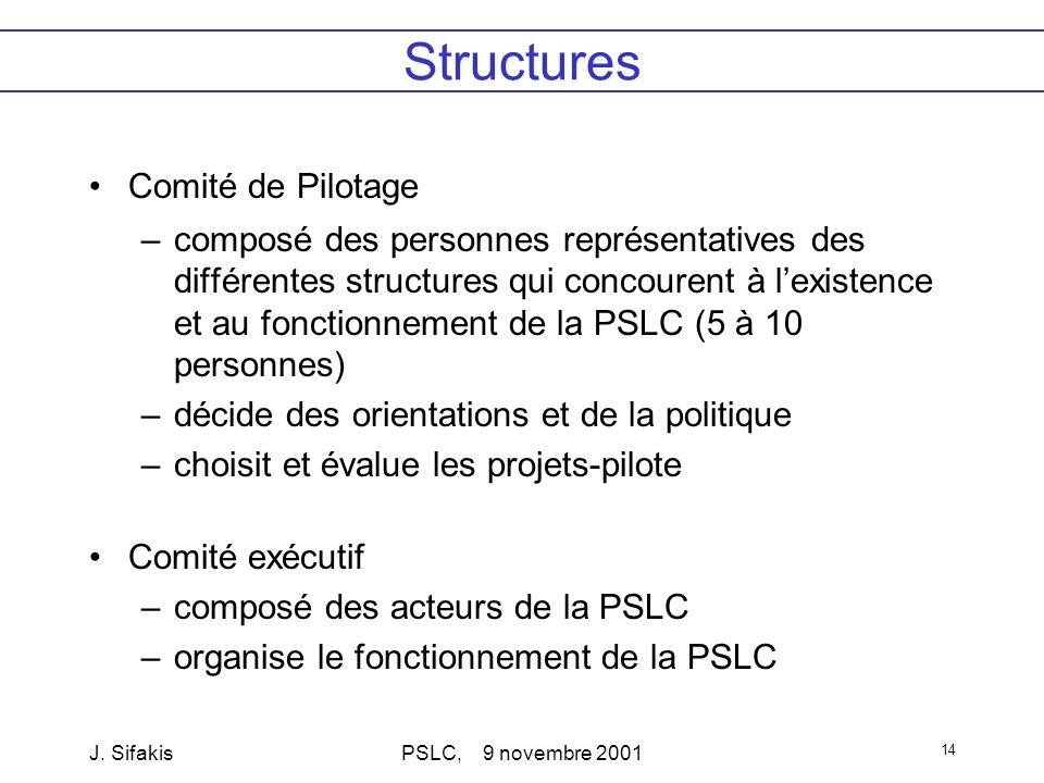 J. SifakisPSLC, 9 novembre 2001 14 Structures Comité de Pilotage –composé des personnes représentatives des différentes structures qui concourent à le