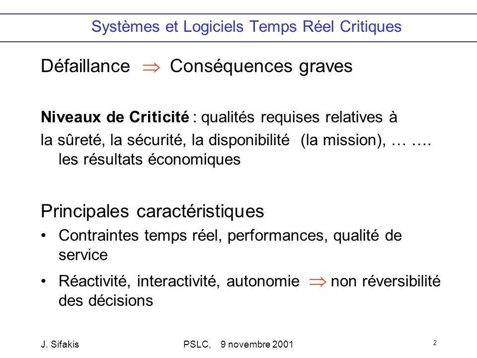 J. SifakisPSLC, 9 novembre 2001 2 Systèmes et Logiciels Temps Réel Critiques Défaillance Conséquences graves Niveaux de Criticité : qualités requises