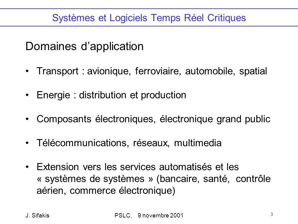 J. SifakisPSLC, 9 novembre 2001 3 Systèmes et Logiciels Temps Réel Critiques Domaines dapplication Transport : avionique, ferroviaire, automobile, spa