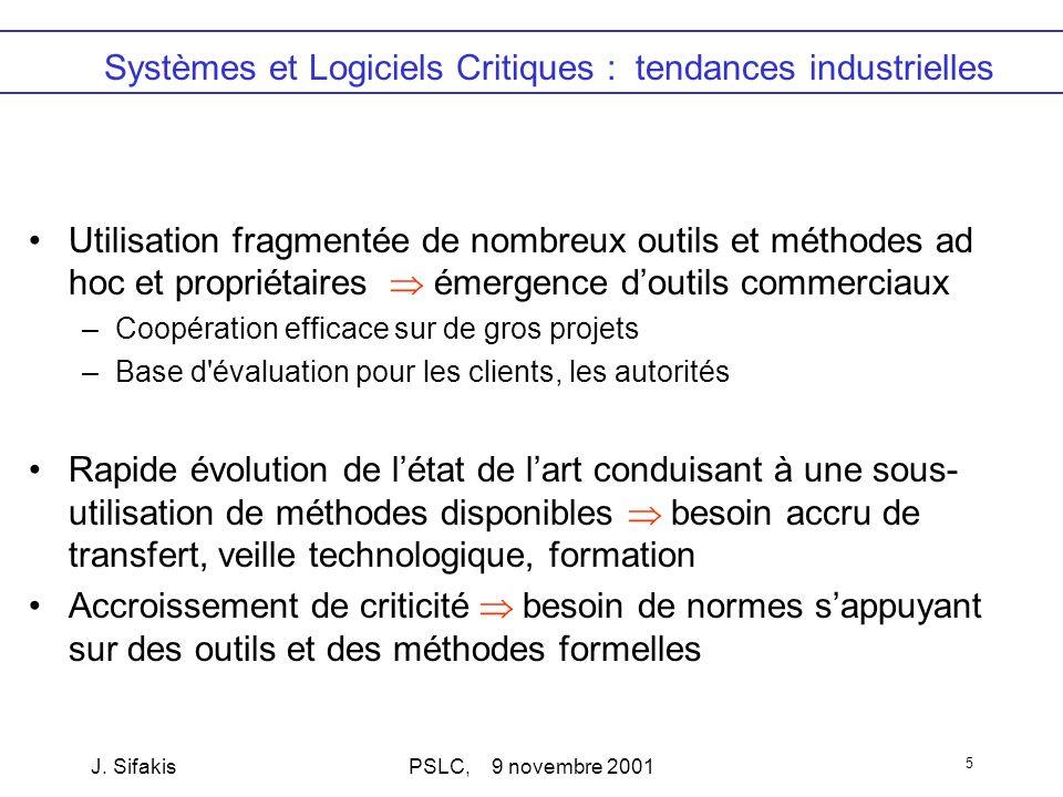 J. SifakisPSLC, 9 novembre 2001 5 Systèmes et Logiciels Critiques : tendances industrielles Utilisation fragmentée de nombreux outils et méthodes ad h