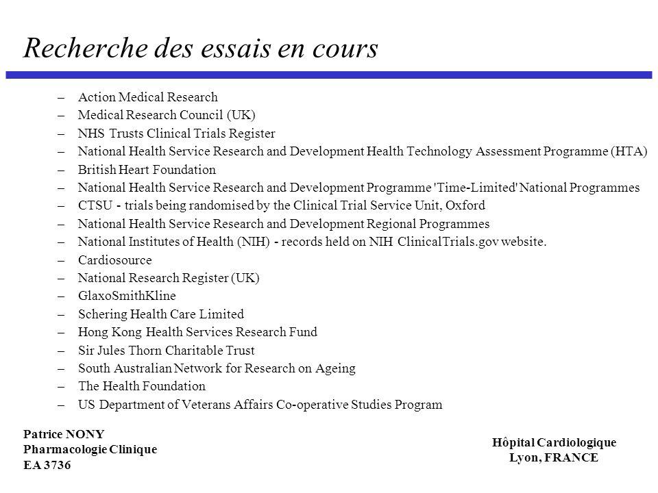 Patrice NONY Pharmacologie Clinique EA 3736 Hôpital Cardiologique Lyon, FRANCE Recherche des essais en cours –Action Medical Research –Medical Researc