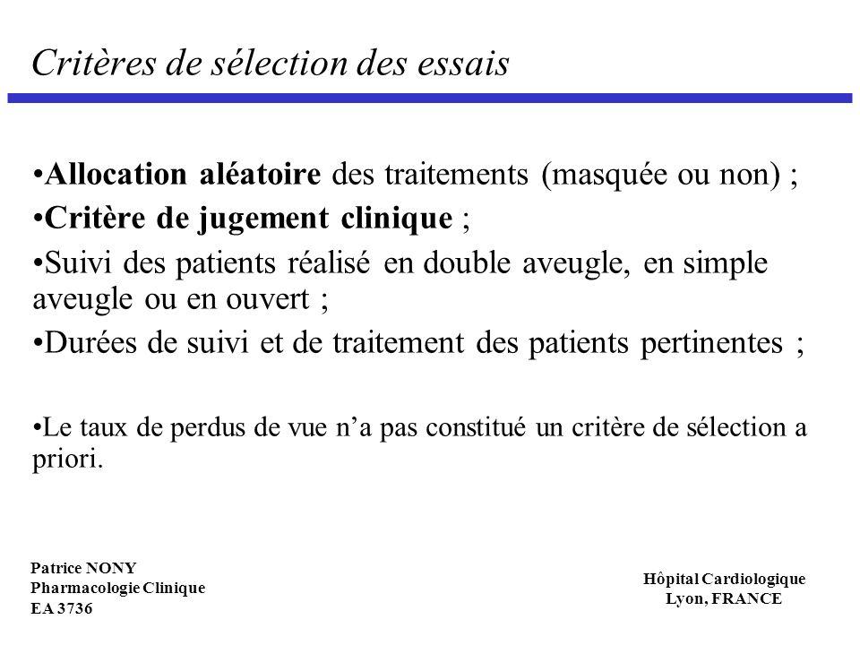 Patrice NONY Pharmacologie Clinique EA 3736 Hôpital Cardiologique Lyon, FRANCE Critères de sélection des essais Allocation aléatoire des traitements (