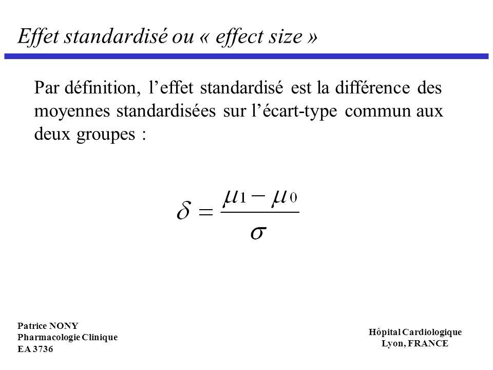 Patrice NONY Pharmacologie Clinique EA 3736 Hôpital Cardiologique Lyon, FRANCE Effet standardisé ou « effect size » Par définition, leffet standardisé