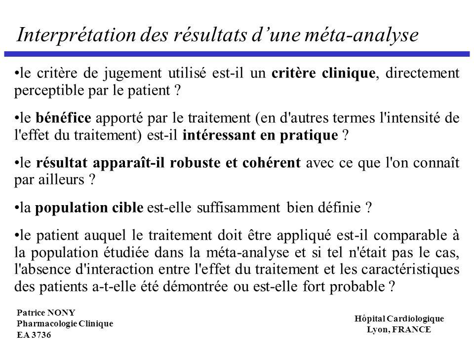Patrice NONY Pharmacologie Clinique EA 3736 Hôpital Cardiologique Lyon, FRANCE Interprétation des résultats dune méta-analyse le critère de jugement u