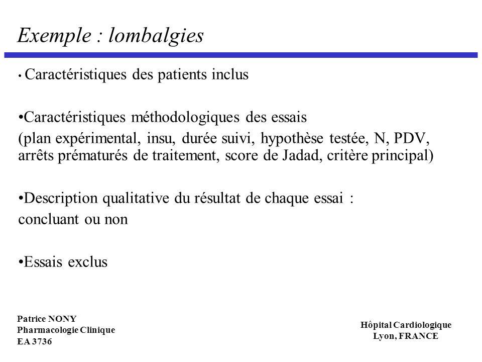 Patrice NONY Pharmacologie Clinique EA 3736 Hôpital Cardiologique Lyon, FRANCE Exemple : lombalgies Caractéristiques des patients inclus Caractéristiq