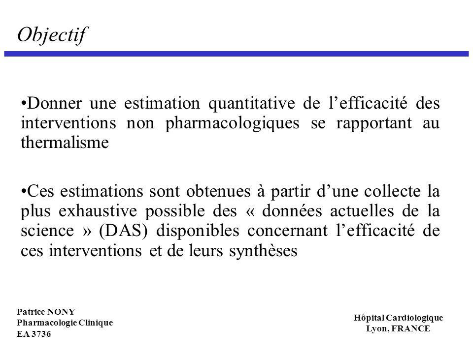 Patrice NONY Pharmacologie Clinique EA 3736 Hôpital Cardiologique Lyon, FRANCE Résultats globaux : commentaires Dun essai à lautre, les méthodes/échelles de mesure dun même critère varient, rendant quasi impossible toute méta-analyse même sur un seul critère.
