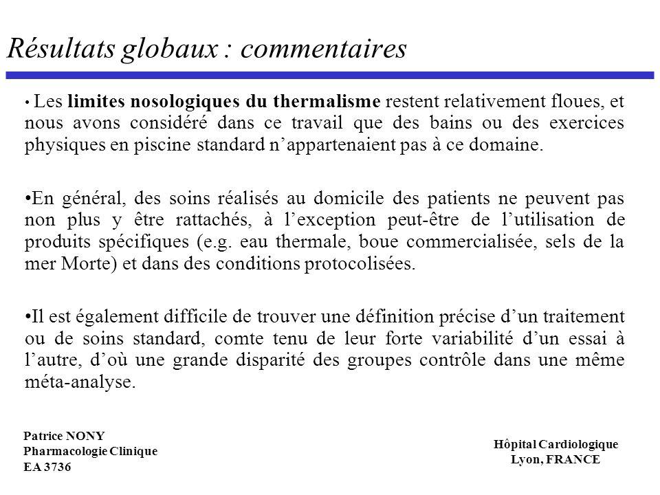 Patrice NONY Pharmacologie Clinique EA 3736 Hôpital Cardiologique Lyon, FRANCE Résultats globaux : commentaires Les limites nosologiques du thermalism