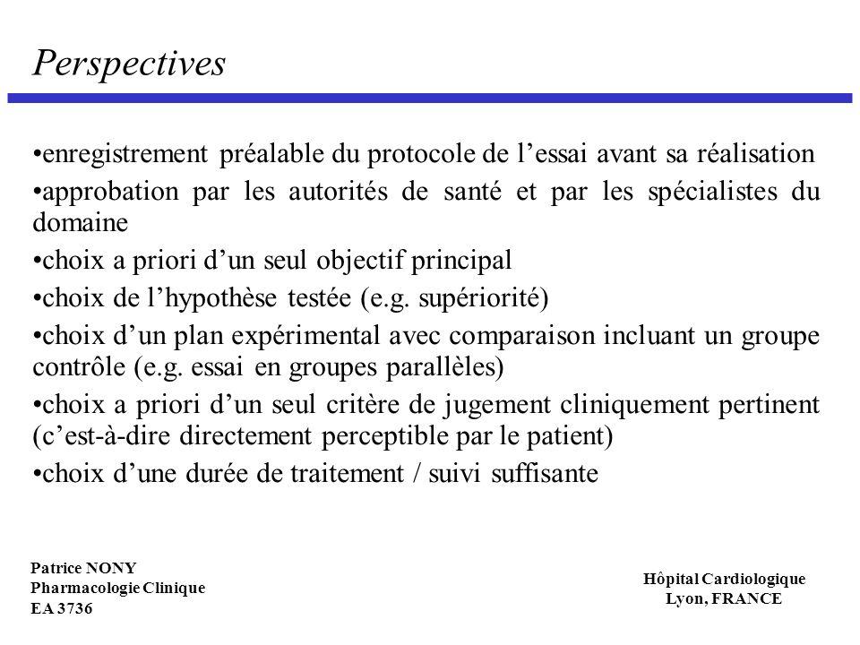 Patrice NONY Pharmacologie Clinique EA 3736 Hôpital Cardiologique Lyon, FRANCE Perspectives enregistrement préalable du protocole de lessai avant sa r