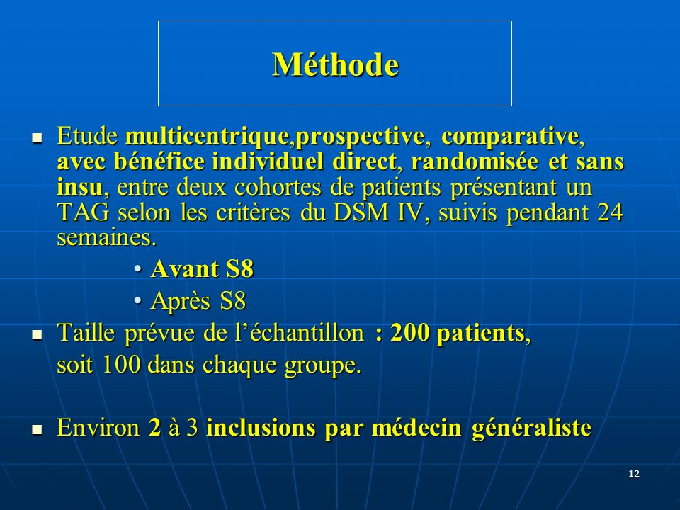 12 Méthode Etude multicentrique,prospective, comparative, avec bénéfice individuel direct, randomisée et sans insu, entre deux cohortes de patients pr