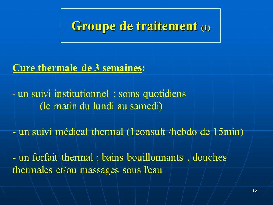 15 Groupe de traitement (1) Cure thermale de 3 semaines: - un suivi institutionnel : soins quotidiens (le matin du lundi au samedi) - un suivi médical