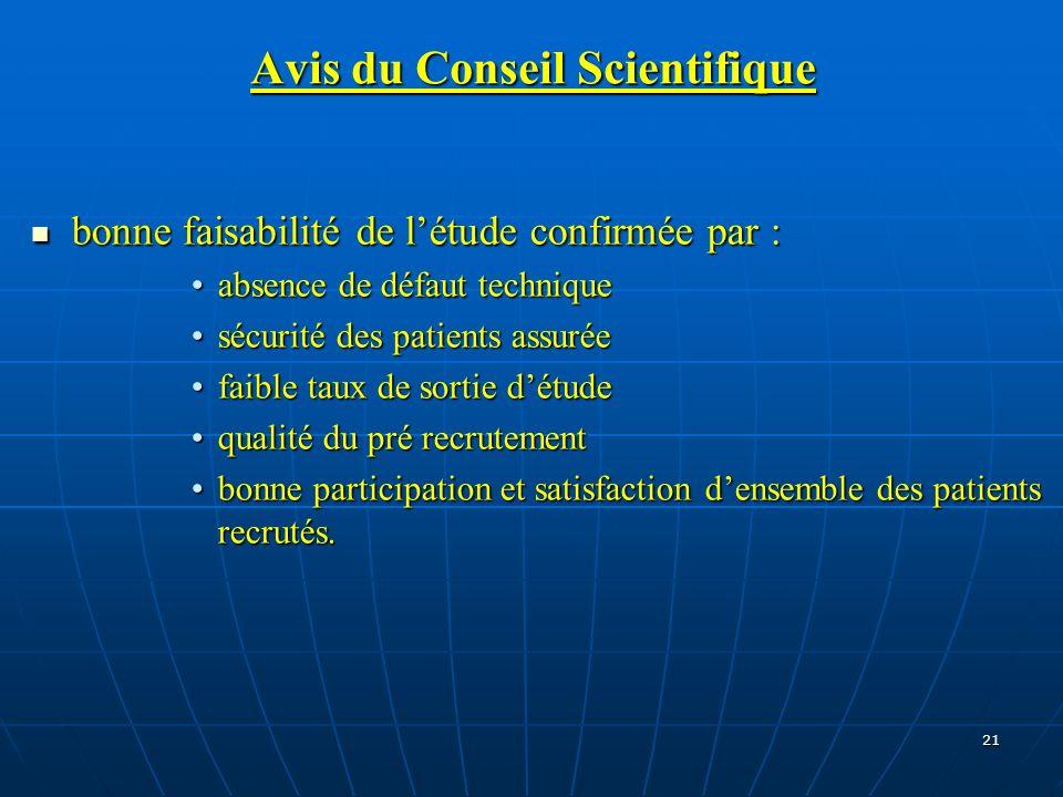 21 Avis du Conseil Scientifique bonne faisabilité de létude confirmée par : bonne faisabilité de létude confirmée par : absence de défaut techniqueabs