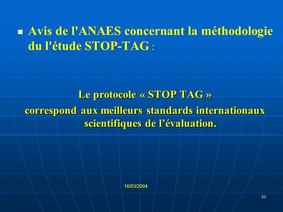 22 Avis de l'ANAES concernant la méthodologie du l'étude STOP-TAG : Le protocole « STOP TAG » correspond aux meilleurs standards internationaux scient