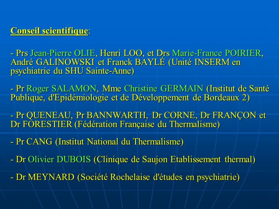 Conseil scientifique: - Prs Jean-Pierre OLIE, Henri LOO, et Drs Marie-France POIRIER, André GALINOWSKI et Franck BAYLÉ (Unité INSERM en psychiatrie du