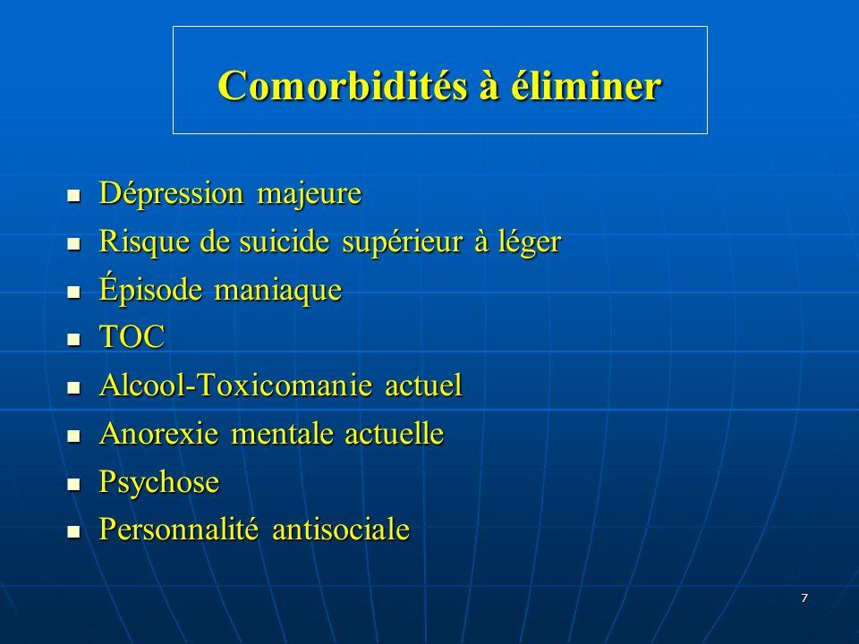 7 Comorbidités à éliminer Dépression majeure Dépression majeure Risque de suicide supérieur à léger Risque de suicide supérieur à léger Épisode maniaq