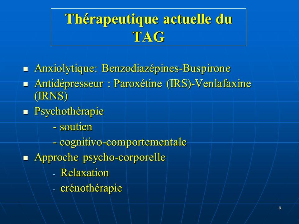 9 Thérapeutique actuelle du TAG Anxiolytique: Benzodiazépines-Buspirone Anxiolytique: Benzodiazépines-Buspirone Antidépresseur : Paroxétine (IRS)-Venl