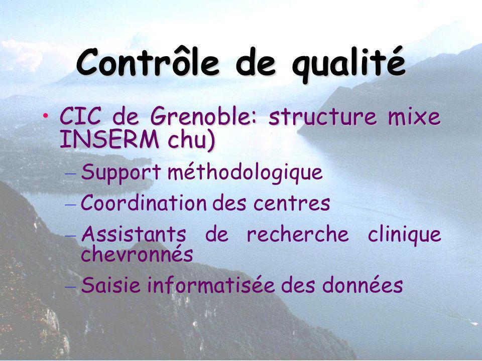 Contrôle de qualité CIC de Grenoble: structure mixe INSERM chu)CIC de Grenoble: structure mixe INSERM chu) – Support méthodologique – Coordination des