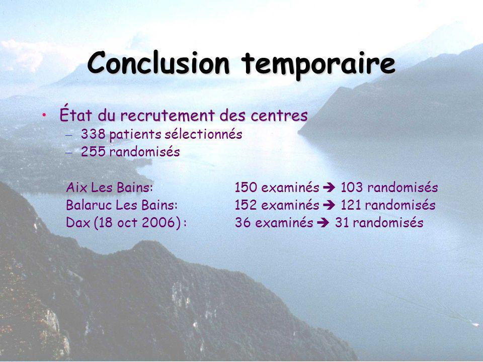 Conclusion temporaire État du recrutement des centresÉtat du recrutement des centres – 338 patients sélectionnés – 255 randomisés Aix Les Bains: 150 e