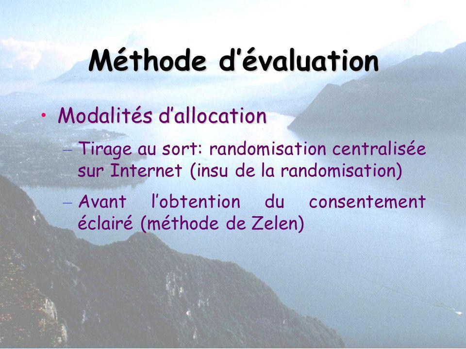 Méthode dévaluation Modalités dallocationModalités dallocation – Tirage au sort: randomisation centralisée sur Internet (insu de la randomisation) – A