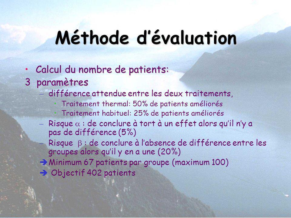 Méthode dévaluation Calcul du nombre de patients:Calcul du nombre de patients: 3 paramètres – différence attendue entre les deux traitements, Traiteme