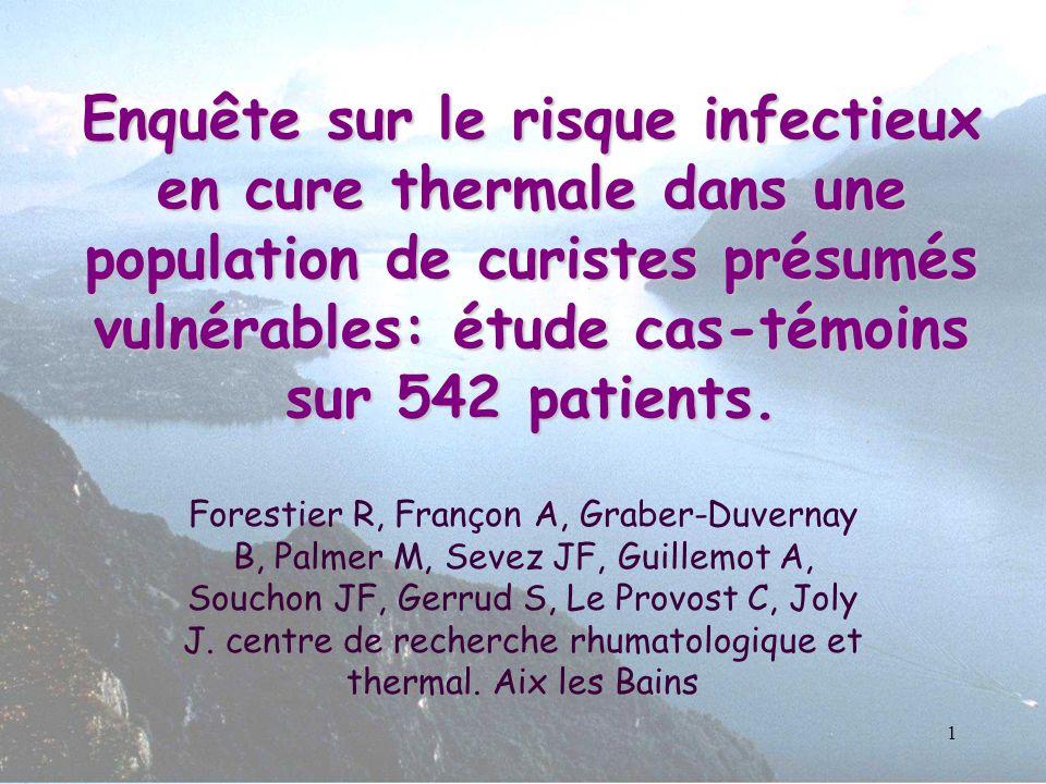 1 Enquête sur le risque infectieux en cure thermale dans une population de curistes présumés vulnérables: étude cas-témoins sur 542 patients. Forestie