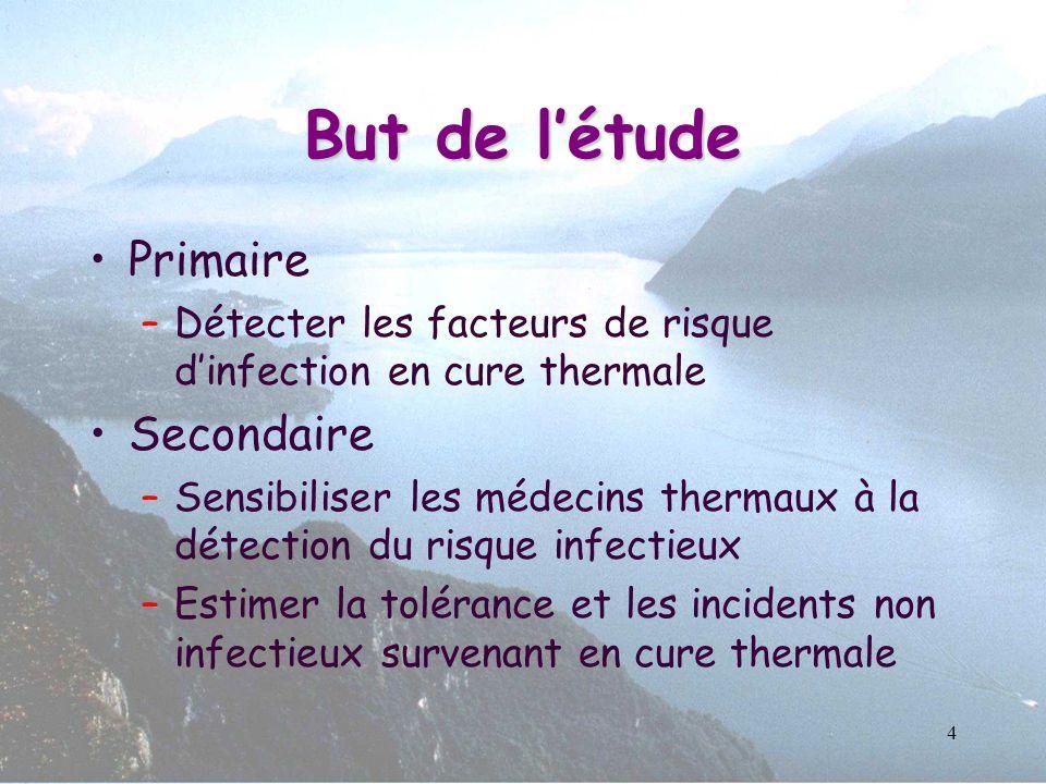 4 But de létude Primaire –Détecter les facteurs de risque dinfection en cure thermale Secondaire –Sensibiliser les médecins thermaux à la détection du