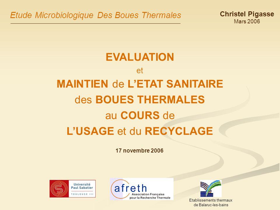 Intérêts de létude Pouvoirs publics: Garantie dune bonne qualité sanitaire des produits thermaux à des fins de contact cutané (risques sanitaires) 2.