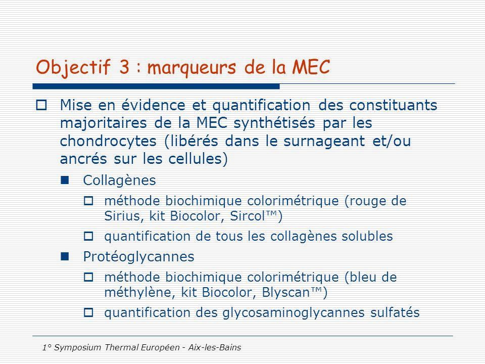 1° Symposium Thermal Européen - Aix-les-Bains Objectif 3 : marqueurs de la MEC Mise en évidence et quantification des constituants majoritaires de la