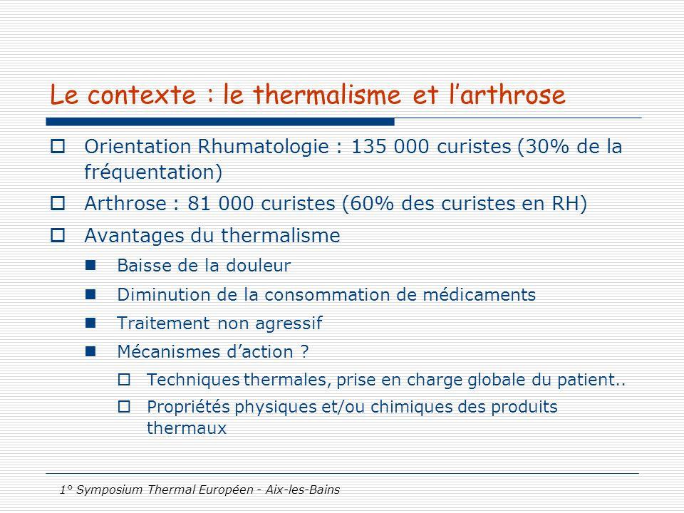 1° Symposium Thermal Européen - Aix-les-Bains Le contexte : le thermalisme et larthrose Orientation Rhumatologie : 135 000 curistes (30% de la fréquen