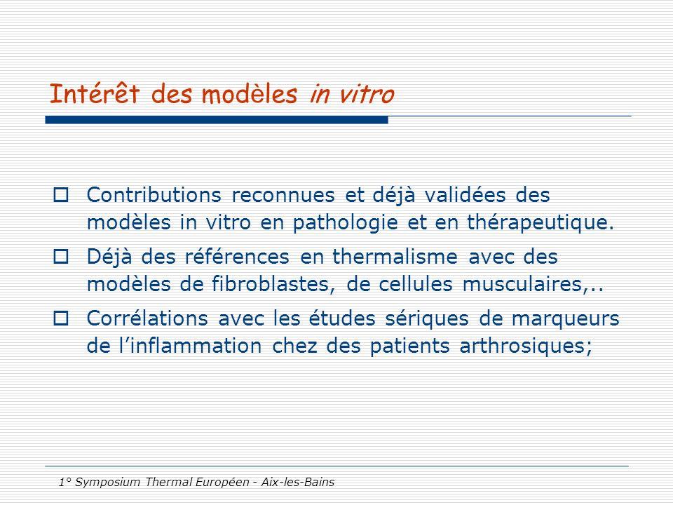 1° Symposium Thermal Européen - Aix-les-Bains Intérêt des mod è les in vitro Contributions reconnues et déjà validées des modèles in vitro en patholog