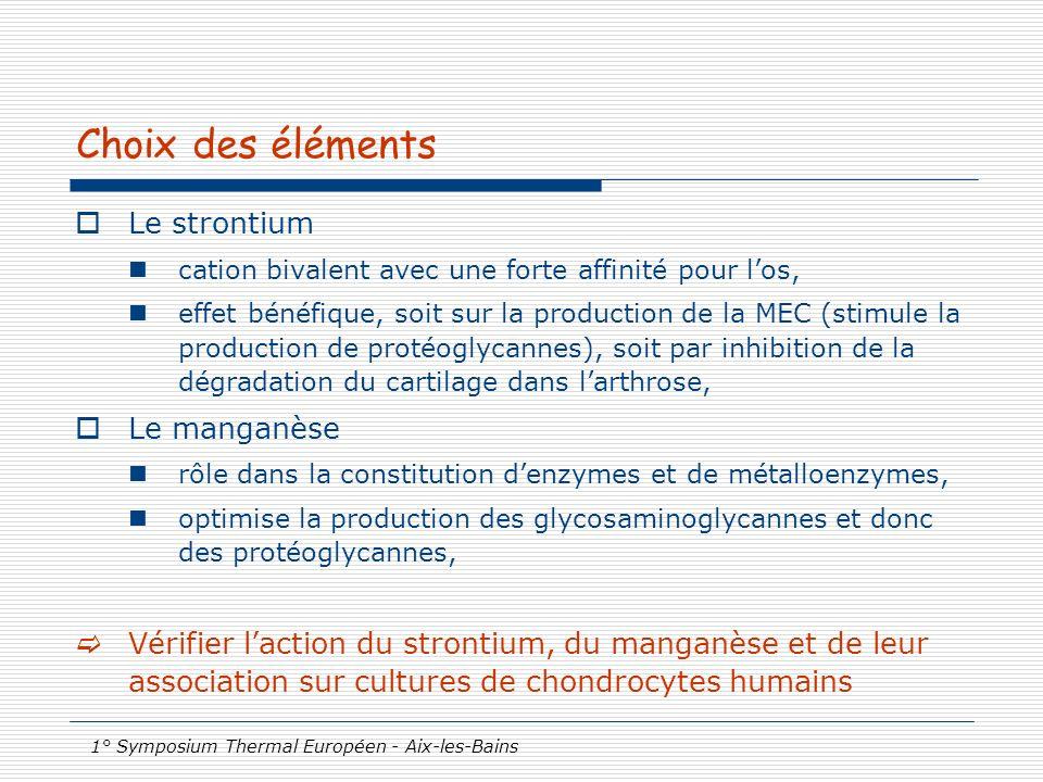 1° Symposium Thermal Européen - Aix-les-Bains Choix des éléments Le strontium cation bivalent avec une forte affinité pour los, effet bénéfique, soit