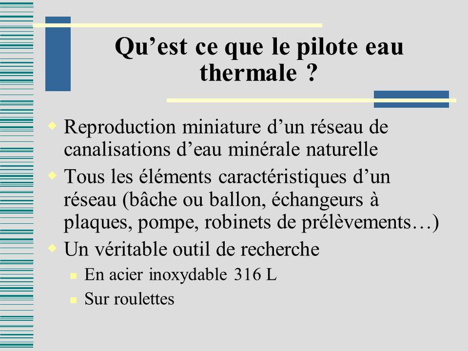 Quest ce que le pilote eau thermale ? Reproduction miniature dun réseau de canalisations deau minérale naturelle Tous les éléments caractéristiques du
