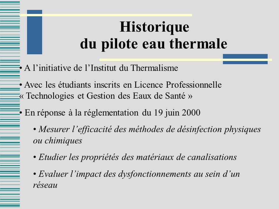 Historique du pilote eau thermale A linitiative de lInstitut du Thermalisme Avec les étudiants inscrits en Licence Professionnelle « Technologies et G