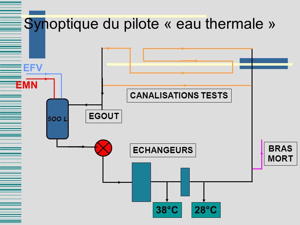 Synoptique du pilote « eau thermale » 5OO L EFV EMN 38°C28°C BRAS MORT ECHANGEURS CANALISATIONS TESTS EGOUT