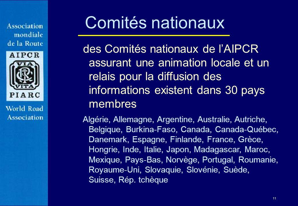 11 Comités nationaux des Comités nationaux de lAIPCR assurant une animation locale et un relais pour la diffusion des informations existent dans 30 pa