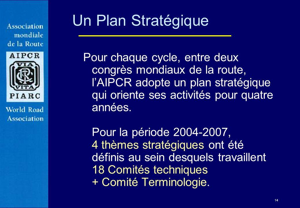 14 Pour chaque cycle, entre deux congrès mondiaux de la route, lAIPCR adopte un plan stratégique qui oriente ses activités pour quatre années. Pour la