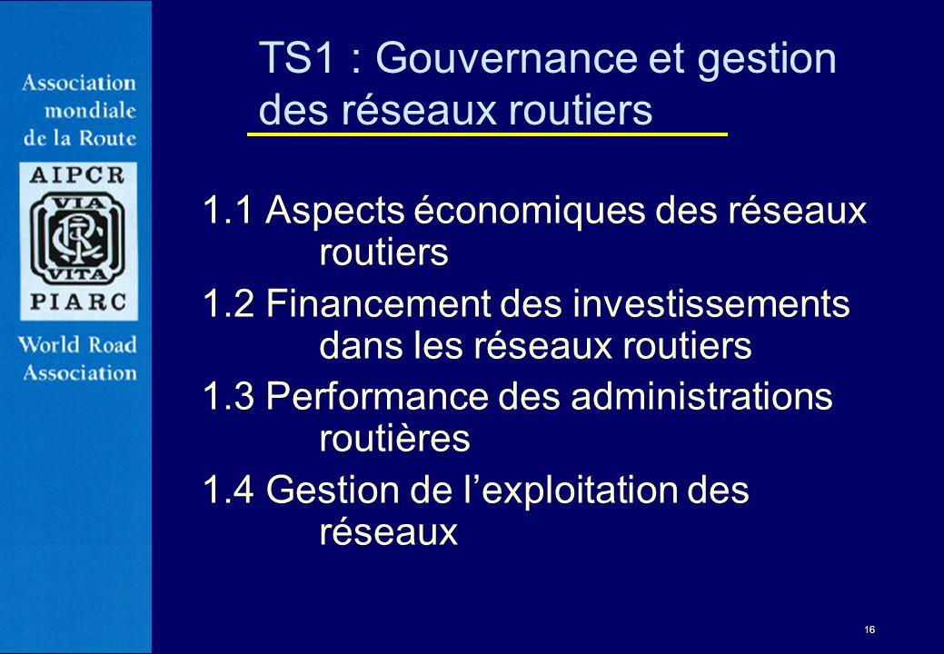 16 1.1 Aspects économiques des réseaux routiers 1.2 Financement des investissements dans les réseaux routiers 1.3 Performance des administrations rout