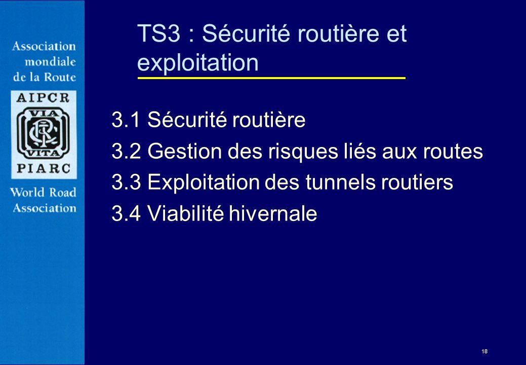 18 3.1 Sécurité routière 3.2 Gestion des risques liés aux routes 3.3 Exploitation des tunnels routiers 3.4 Viabilité hivernale TS3 : Sécurité routière