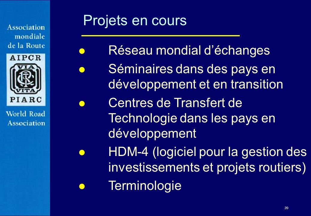 20 Projets en cours l Réseau mondial déchanges l Séminaires dans des pays en développement et en transition l Centres de Transfert de Technologie dans
