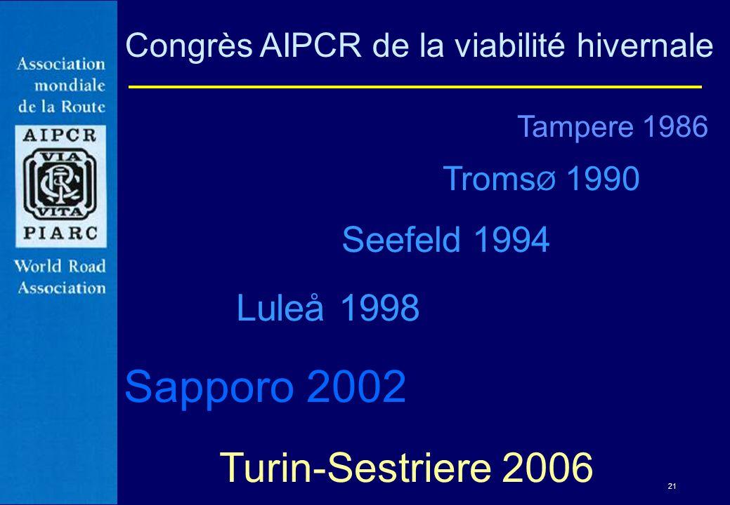 21 Congrès AIPCR de la viabilité hivernale Tampere 1986 Troms Ø 1990 Seefeld 1994 Luleå 1998 Sapporo 2002 Turin-Sestriere 2006