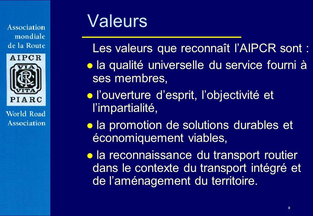 8 Valeurs Les valeurs que reconnaît lAIPCR sont : l la qualité universelle du service fourni à ses membres, l louverture desprit, lobjectivité et limp