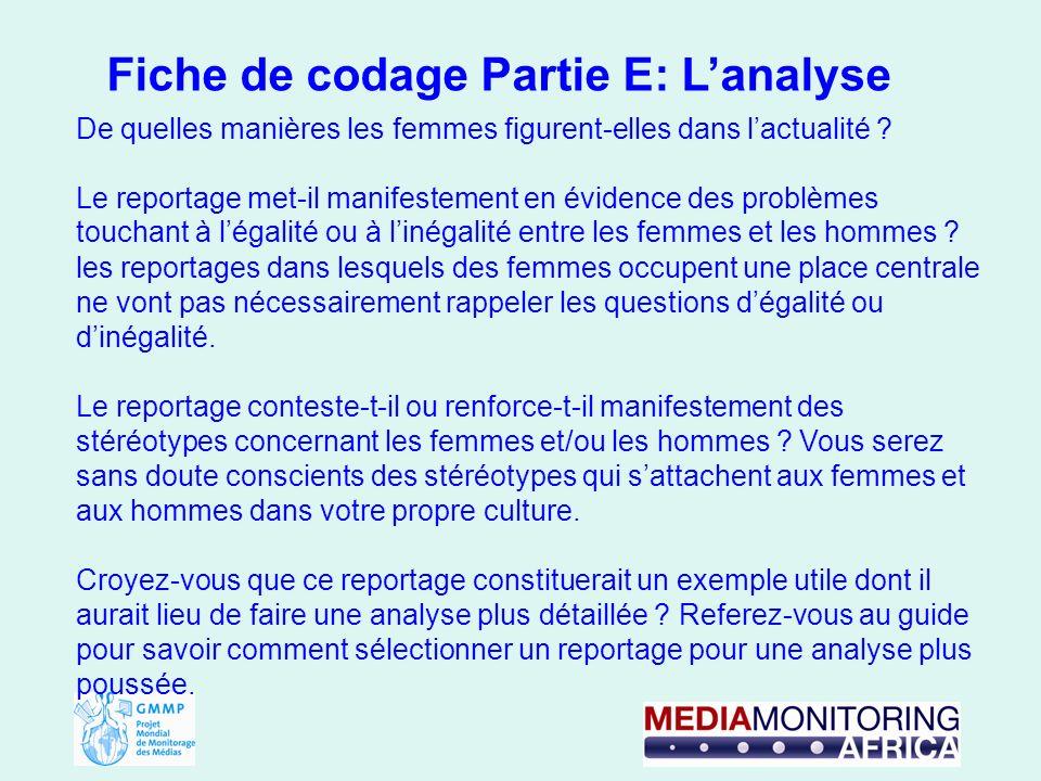 Fiche de codage Partie E: Lanalyse De quelles manières les femmes figurent-elles dans lactualité .