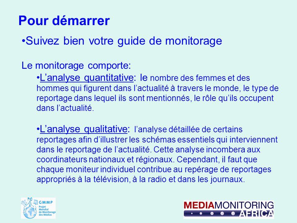 Suivez bien votre guide de monitorage Le monitorage comporte: Lanalyse quantitative: le nombre des femmes et des hommes qui figurent dans lactualité à travers le monde, le type de reportage dans lequel ils sont mentionnés, le rôle quils occupent dans lactualité.