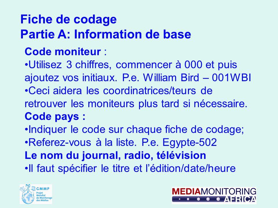 Fiche de codage Partie A: Information de base Code moniteur : Utilisez 3 chiffres, commencer à 000 et puis ajoutez vos initiaux.
