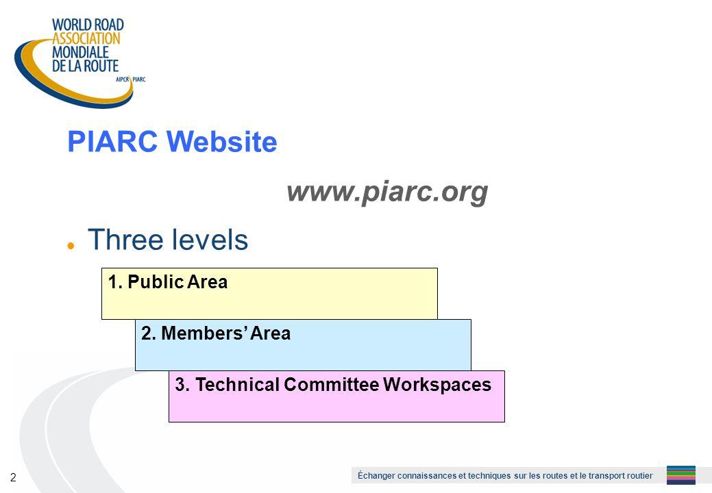 Échanger connaissances et techniques sur les routes et le transport routier 2 PIARC Website www.piarc.org l Three levels 1.