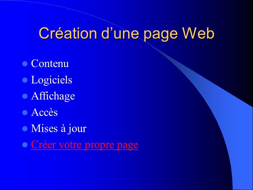 Création dune page Web Contenu Logiciels Affichage Accès Mises à jour Créer votre propre page