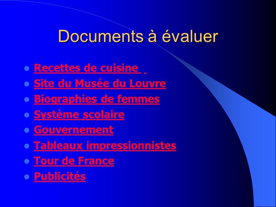 Documents à évaluer Recettes de cuisine Site du Musée du Louvre Biographies de femmes Système scolaire Gouvernement Tableaux impressionnistes Tour de France Publicités