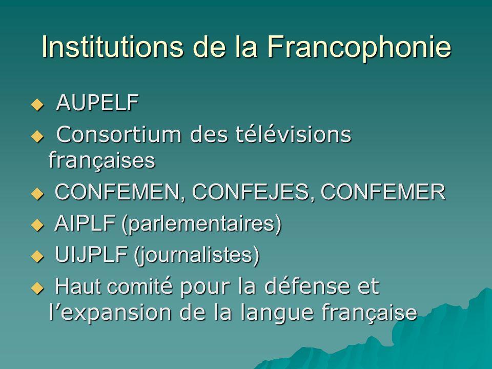 Institutions de la Francophonie AUPELF AUPELF Consortium des télévisions fran çaises Consortium des télévisions fran çaises CONFEMEN, CONFEJES, CONFEMER CONFEMEN, CONFEJES, CONFEMER AIPLF (parlementaires) AIPLF (parlementaires) UIJPLF (journalistes) UIJPLF (journalistes) Haut comit é pour la défense et lexpansion de la langue fran çaise Haut comit é pour la défense et lexpansion de la langue fran çaise