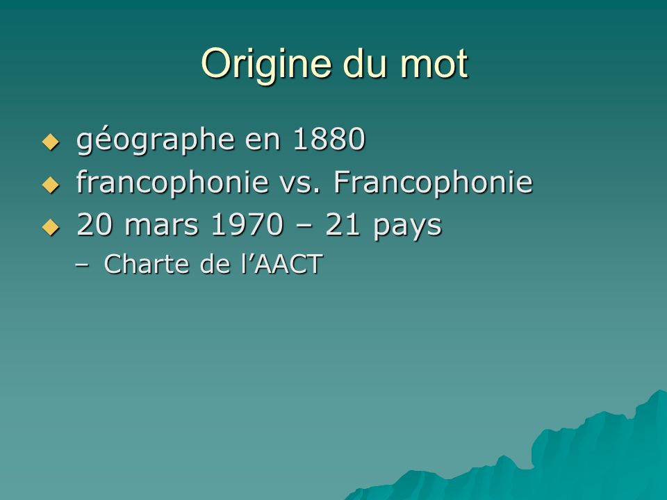 Origine du mot géographe en 1880 géographe en 1880 francophonie vs.