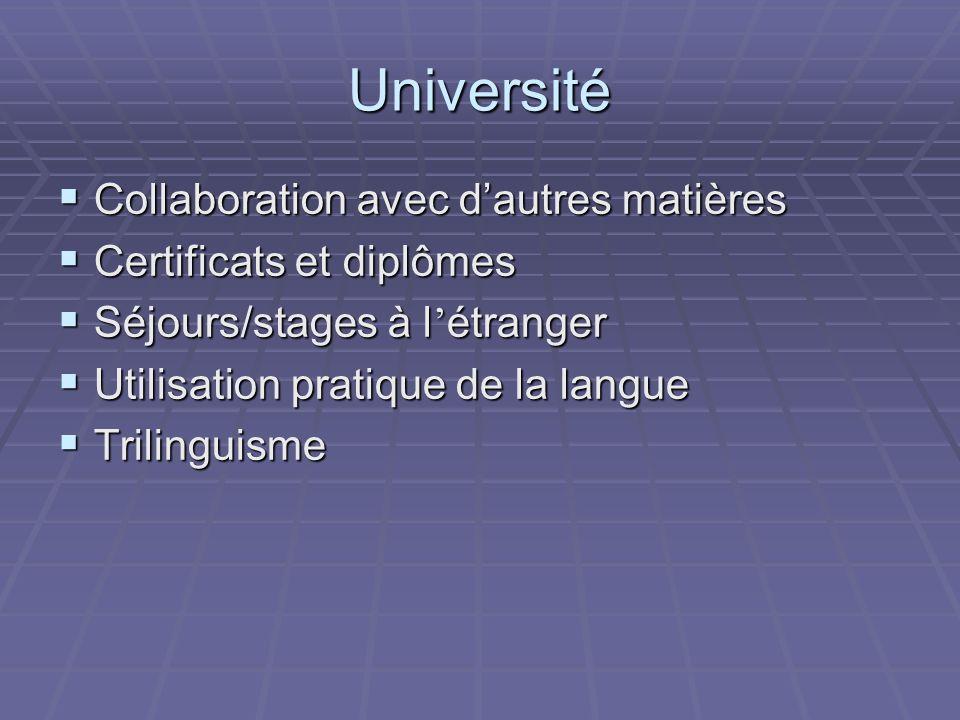 Université Collaboration avec dautres matières Collaboration avec dautres matières Certificats et diplômes Certificats et diplômes Séjours/stages à l étranger Séjours/stages à l étranger Utilisation pratique de la langue Utilisation pratique de la langue Trilinguisme Trilinguisme