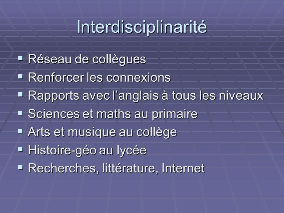 Sites utiles http://www.educnet.education.fr/ http://www.educnet.education.fr/ http://www.educnet.education.fr/ http://tice.education.fr/ http://tice.education.fr/ http://tice.education.fr/ http://www.education.gouv/fr http://www.education.gouv/fr http://www.education.gouv/fr http://www.onisep.fr http://www.onisep.fr http://www.onisep.fr I will add the site for exchanges as soon as I can locate it from my contacts in France.